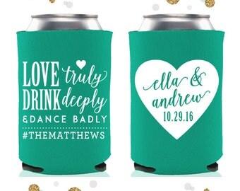 Love Truly - Wedding Can Cooler #54 - Custom - Bridal Wedding Favors, Beverage Insulators, Beer Huggers