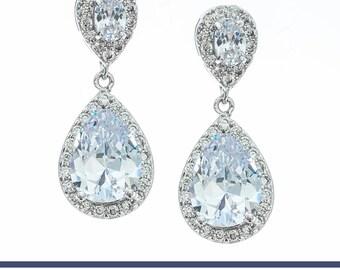 Bridal Earrings, Crystal Earrings, Wedding Earrings, Bridesmaids Earrings, White Gold Earring, CZ Earrings, Statement Earrings, Drop Earring