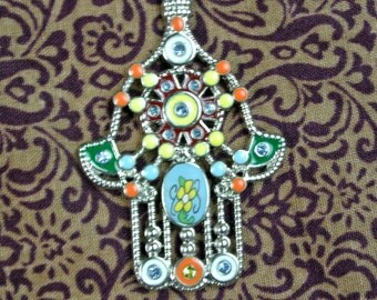Colorful hamsa pendant necklace