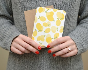 Lemon Note Cards - Set of Flat Note Cards - Lemon Notecards - Lemon Stationary - Fruit Stationary - Notecard Set - Note Card Set