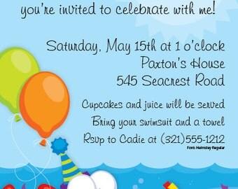Fun Fish Party Invitation, Splash Party Invite, Summertime, Pool Party Beach Party,Birthday Announcement,Original Digital Invitation,ISN1155