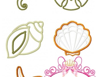 Sea Life Applique Set 5 Designs: Seahorse, Shells, Sand Dollar, Star Fish Sizes, 2, 3, 4, 5, 4x4, 5x7, 6x10 Applique Machine Embroidery