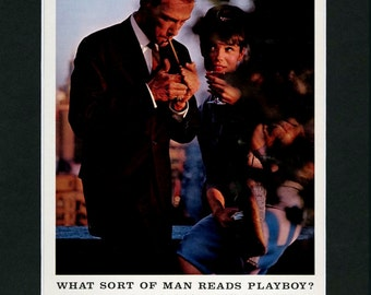 What Sort Of Man Reads Playboy Vintage Print Ad Aug 1963 ~ Retro Playboy Print ~ Man Cave Decor ~ Optional 11x14 Matting, Laminating