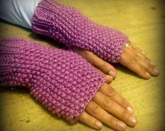 Sparkly Pink Fingerless Mittens, Knit Fingerless Gloves, Ladies Small to Medium Wrist / Arm Warmers