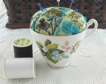 Blue Floral Pin Cushion in Vintage Tea Cup
