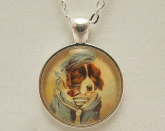 Dog Necklace, Dog Pendant, Dog Jewelry, Sailor Dog, Glass Pendant, Glass Dog Pendant, Dog Charm, Glass Photo Pendant, Glass Jewelry
