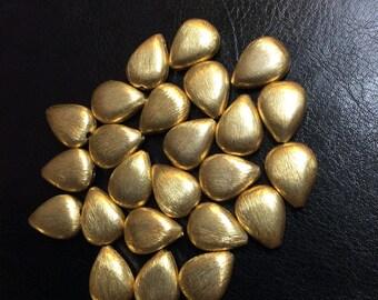 Gold vermeil bead, Brushed briolettes tear drop, 15x11mm, 2 pieces