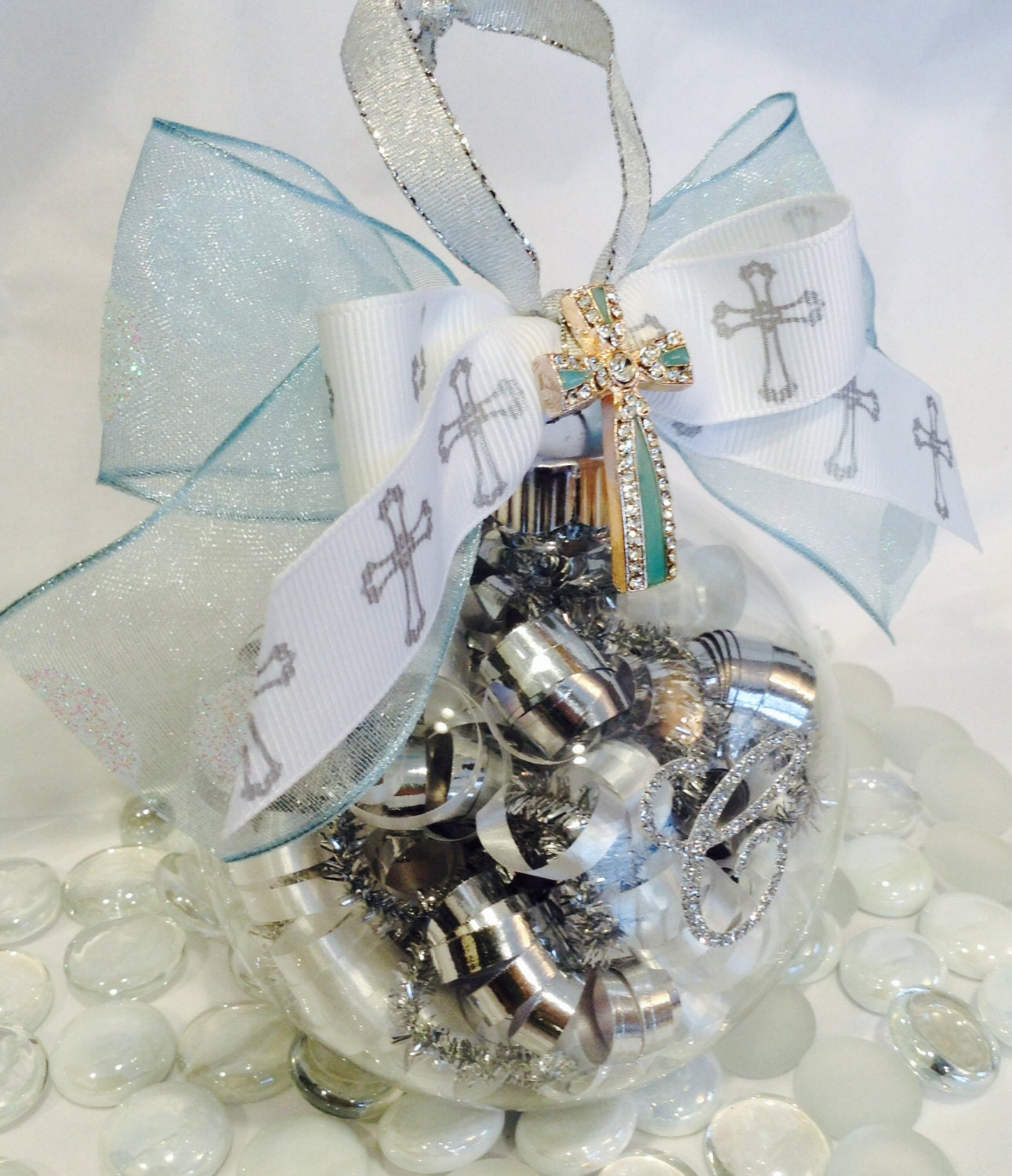 Baptism Ornaments Christening Christmas Ornaments: Personalized Baptism Cross Glass Ornament Christening Holy