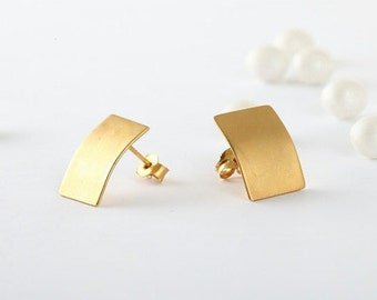 Rectangular Gold Studs, Gold Studs, Mod Deco Studs, Rectangular Gold Earrings, Geometric Earrings
