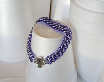 Purple and Silver Cuff Bracelet Chain Maille, Chain and Link Bracelet Gifts, Chainmail Jewellry, Artisan Jewelry, Gifts For Her, Teens Gifts