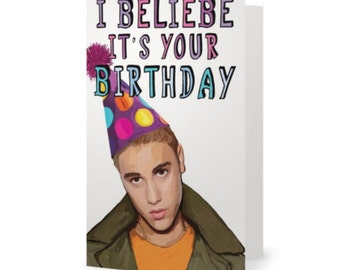 Justin Bieber Card Etsy Jpg 340x270 Happy Birthday