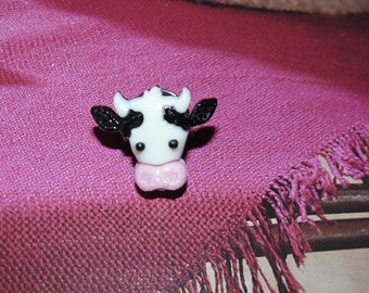 Handcrafted Novelty Cute Little Cow Face Hat/Shirt/Lapel Pin