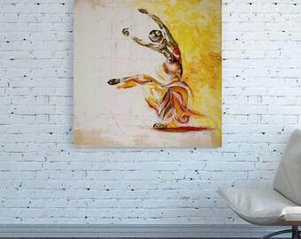 CANVAS PRINT Dancing Wall Art Dancing Art Dance Art girl woman Dancing Wall Art Work Large Oversized Art Orange yellow white square painting