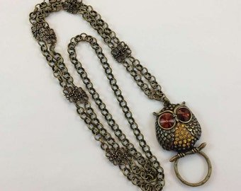Bright-Eyed Owl Lanyard, Bronze  Chain Lanyard, Owl  Badge  Holder, Bronze Badge Holder, Owl Lanyard ID holder, Breakaway Optional