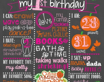 Pumpkin Birthday Chalkboard / First Birthday Pumpkin Chalkboard / Girl First Birthday Chalkboard Sign / Pumpkin Halloween Chalkboard Sign