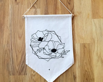 FLAG black flower embroidered - cotton