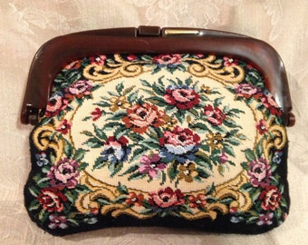 Vintage Tapestry Purse, Framed Tapestry Purse, Tapestry Clutch, Tapestry Handbag