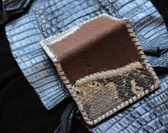 SALES !!!!Snake Skin - Leather - Wallet - Unique Piece - Travel - Gypsy - Boho - Ethnic - Organic - Design
