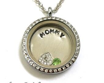 MOMMY- Floating Charm Locket - Memory Locket - Custom Hand Stamped Gift for Mom