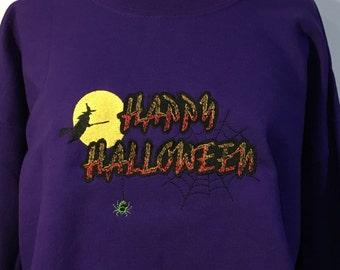 Embroidered Happy Halloween Sweatshirt