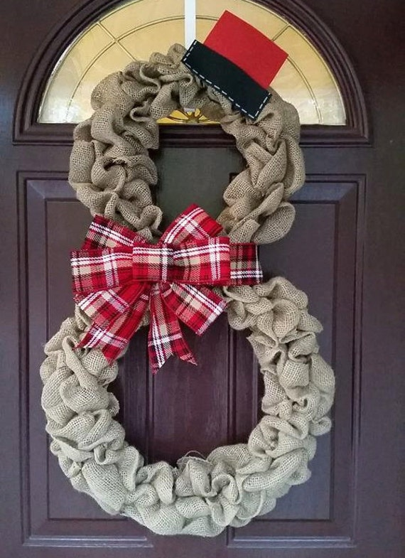 Items similar to burlap snowman wreath with plaid bow for Burlap snowman wreath