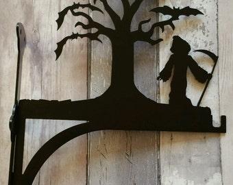 Grim Reaper Stood by Tree Full of Bats Heavy Duty Hanging Basket Bracket