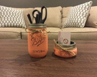 Rustic Office Decor, Mason Jar Desk Decor, Mason Jar Organizer, Jar Organizer, Desk Organizer, Business Card Holder, Teacher Gift, Mason Jar