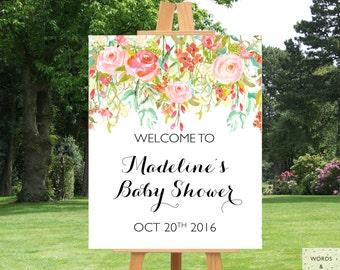 Baby Shower Banner, Baby Shower Decorations Girl, Girl Baby Shower Decoration, Baby Sprinkle Decorations, Custom Banner, Floral Baby Shower