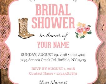 Cowgirl Bridal Shower Invitation, Lace Bridal Shower Invite, Country Rustic Bridal Shower Invite, Customized, Printable