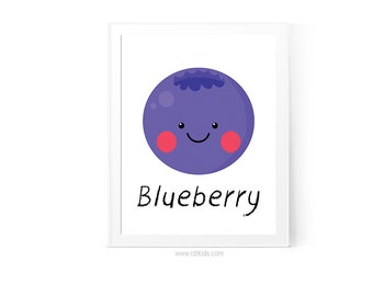 Kawaii Fruit Wall Art, Wall Art, Kids Wall Art, Classroom Decor, Daycare Art, Blueberry Print, Playroom Decor, Home Decor, Instant Download
