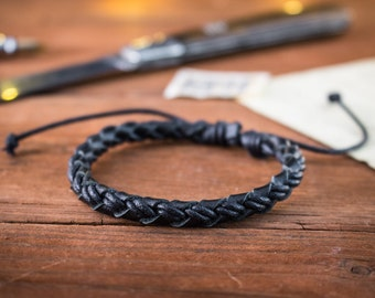 Genuine leather and black waxed cord braided bracelet, mens bracelet, black leather bracelet, waxed cord bracelet, casual bracelet