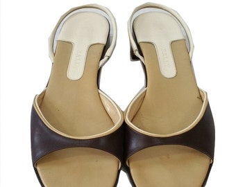 Vintage Slingback Sandals by Bally in a Cream & Brown Size 4.5 - 1990s - Very Good Condition - Free Postage