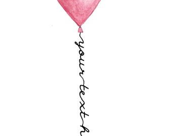 """Write any text you want, Personalized watercolor heart balloon with name and text, Nursery wall decoration, 13x18cm / 5""""x7"""", digital art"""