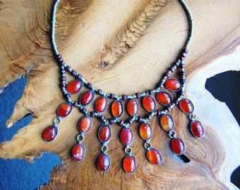 Aqeeq/Akeek Bib Necklace- Cassidy Bib Necklace- Afghan Tribal Jewelry- Kuchi Jewelry- Hippie- Ethnic- Boho- Gypsy- Nomadic- Handmade