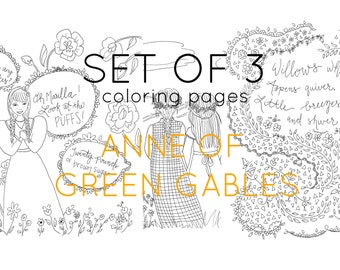 adult coloring pages anne of green gables digital coloring set of three - Picture To Coloring Page