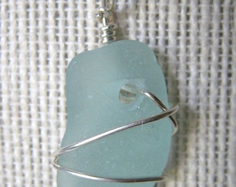 Aqua Seafoam Sea Glass Necklace/Pendant//Sterling Wire Wrapped/Jewelry/Urban Boho/Maine/Sea Swag