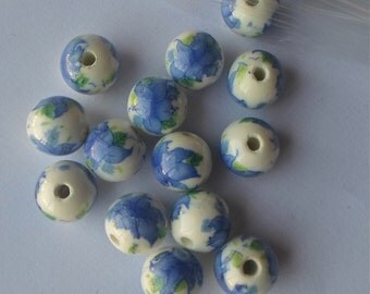 20 x Stunning Oriental Hand Printed Round Blue Flowers Porcelain Ceramic Beads 12mm P29