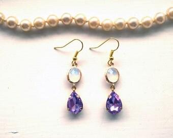 Lilac Earrings Mauve Earrings Indigo Earrings Violet Earrings lilac drop earrings purple drope earring white drop earrings oval earings