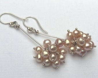 Peach Freshwater Pearl Cluster and Sterling Silver Earrings, Wire Wrap, Long, Dangle