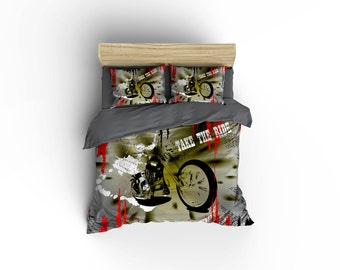 Vintage Motorcycle duvet covers,motorcycle decor,biker bedding,Chopper Bedding,Classic Harley Davidson,Made in USA,motorcycle designs.