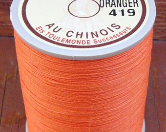 Fil Au Chinois, 632 Size, Orange, Lin Cable/Lin Câblé. Waxed Linen Thread for Leatherwork and More.