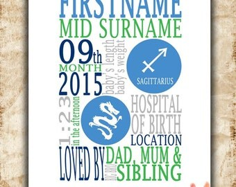 personalised boys birth details announcement stats new baby boy gift zodiac nursery printable
