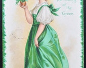 Saint Patrick's Day Postcard St. Patricks Day Girl with Clovers Ellen Clapsaddle