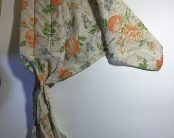 Vintage Women's Floral Pattern Linen Head Scarf with Tie