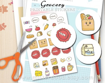 GROCERY Printable Sticker, Cute Kawaii Clipart Hand drawn doodle, Shopping Daily Bread Milk Eggs Veg Planner Diary Journal, Instant Download