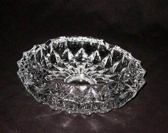 Vintage Cut Glass Heavy Ash Tray , Very Clean Cut Glass Ash Tray