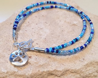 Blue bracelet, gift for dog lover, bracelet for dog lover, charm bracelet, seed bead bracelet, sterling silver bracelet, paw charm