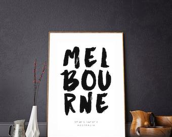 Melbourne Coordinates. Melbourne City Print. Australia Print. City Poster. Melbourne Poster. Australia Coordinates. Melbourne Print