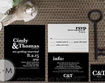 Wedding Invitation set, Classic Black and White, Invitation, Printable Invitations: Class Act BLACK
