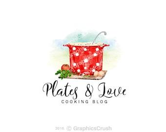 OOAK Watercolor Cooking Logo Food Blog Logo Food Logo Design